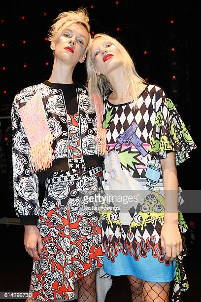 Models pose backstage ahead of the DB Berdan show during MercedesBenz Fashion Week Istanbul at Zorlu Center on October 13 2016 in Istanbul Turkey