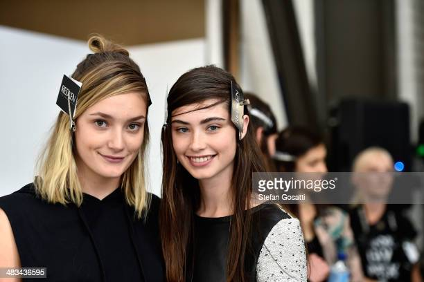 Models pose backstage ahead of the Dion Lee show at MercedesBenz Fashion Week Australia 2014 at 7 Danks Street Waterloo on April 9 2014 in Sydney...