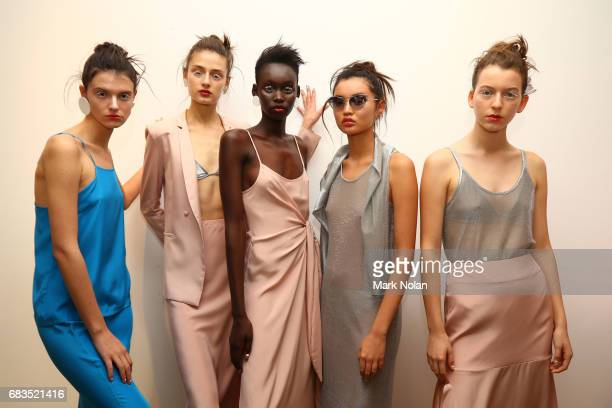 Models pose backstage ahead of the Gary Bigen show at MercedesBenz Fashion Week Resort 18 Collections at Elston Room on May 16 2017 in Sydney...