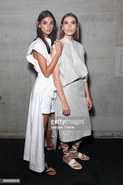 Models pose backstage ahead of the Gary Bigeni show at MercedesBenz Fashion Week Australia 2015 at Carriageworks on April 13 2015 in Sydney Australia