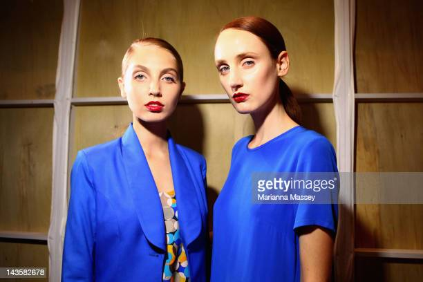 Models pose backstage ahead of the Gary Bigeni show on day one of MercedesBenz Fashion Week Australia Spring/Summer 2012/13 at the Overseas Passenger...