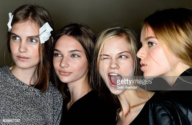Models pose backstage ahead of the Genny show during Milan Fashion Week Spring/Summer 2017 on September 22 2016 in Milan Italy