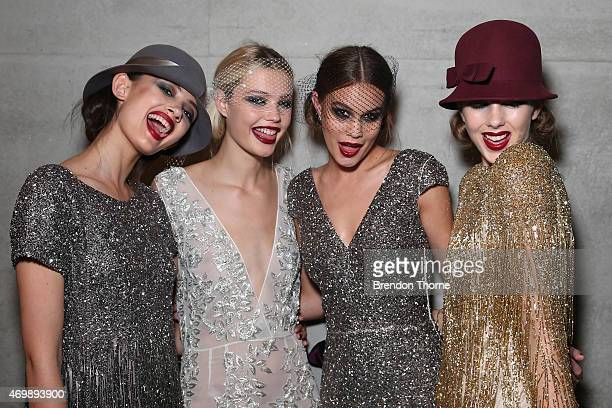 Models pose backstage ahead of the Johanna Johnson Presented By Capitol Grand show at Mercedes-Benz Fashion Week Australia 2015 at Carriageworks on...