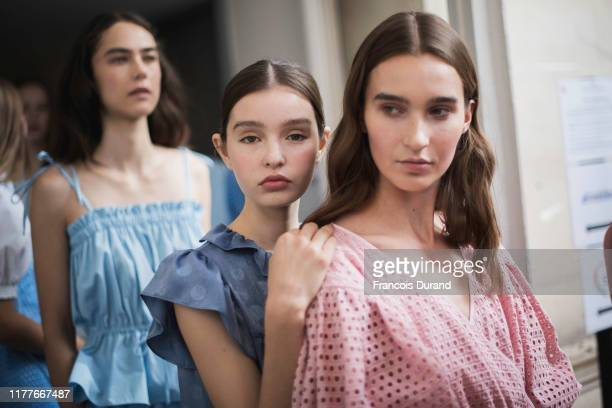 Models pose backstage ahead of the K-Collection Womenswear Spring/Summer 2020 show as part of Paris Fashion Week on September 28, 2019 in Paris,...