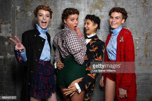 Models pose backstage ahead of the MacGraw show at MercedesBenz Fashion Week Resort 18 Collections at Carriageworks on May 16 2017 in Sydney Australia