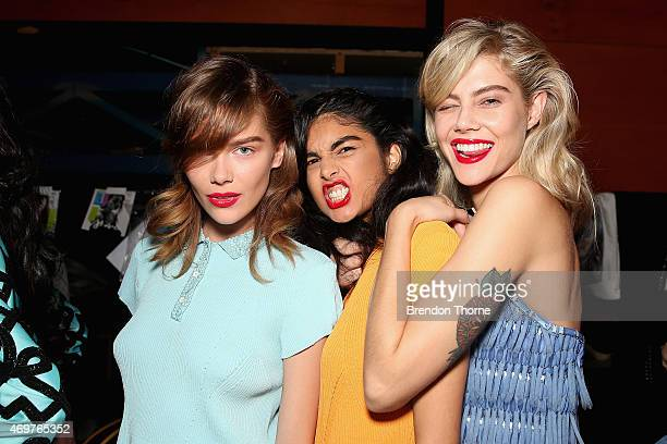 Models pose backstage ahead of the Manning Cartel show at MercedesBenz Fashion Week Australia 2015 at Carriageworks on April 15 2015 in Sydney...