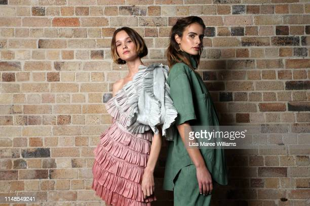 Models pose backstage ahead of the Mercedes-Benz Presents Aje show at Mercedes-Benz Fashion Week Resort 20 Collections at Campbell's Stores on May...