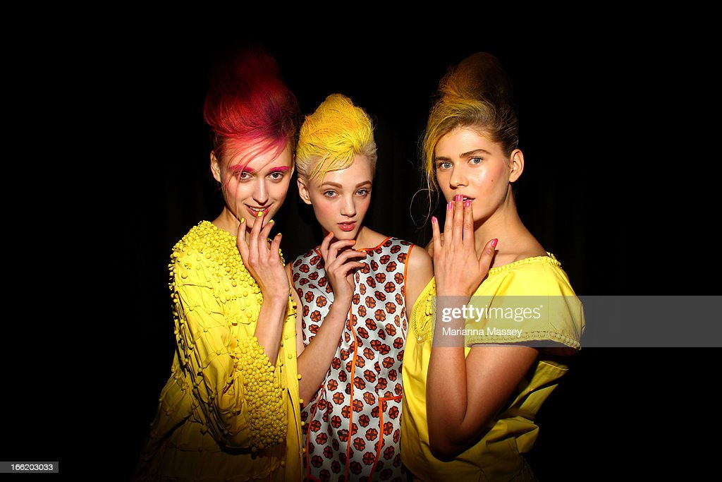 Models pose backstage ahead of the Mercedes-Benz Presents - Easton Pearson show during Mercedes-Benz Fashion Week Australia Spring/Summer 2013/14 at Hughes Gallery on April 10, 2013 in Sydney, Australia.