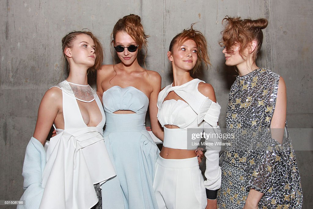 Models pose backstage ahead of the Mercedes-Benz Presents Maticevski show at Mercedes-Benz Fashion Week Resort 17 Collections at The Cutaway, Barangaroo Reserve on May 15, 2016 in Sydney, Australia.