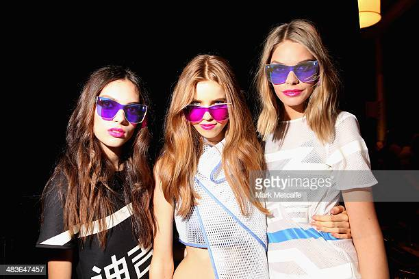 Models pose backstage ahead of the New Generation show at MercedesBenz Fashion Week Australia 2014 at Carriageworks on April 10 2014 in Sydney...