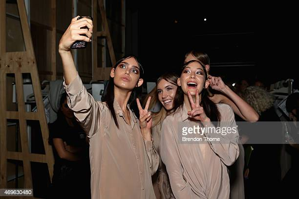 Models pose backstage ahead of the One Fell Swoop show at MercedesBenz Fashion Week Australia 2015 at Carriageworks on April 14 2015 in Sydney...