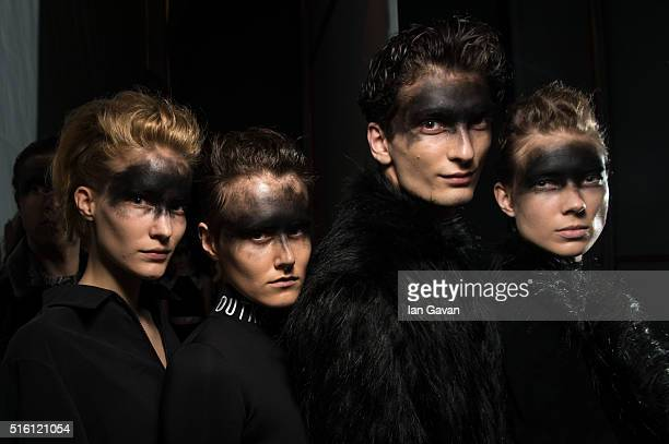 Models pose backstage ahead of the Outkastpeople show during the MercedesBenz Fashion Week Istanbul Autumn/Winter 2016 at Zorlu Center on March 17...