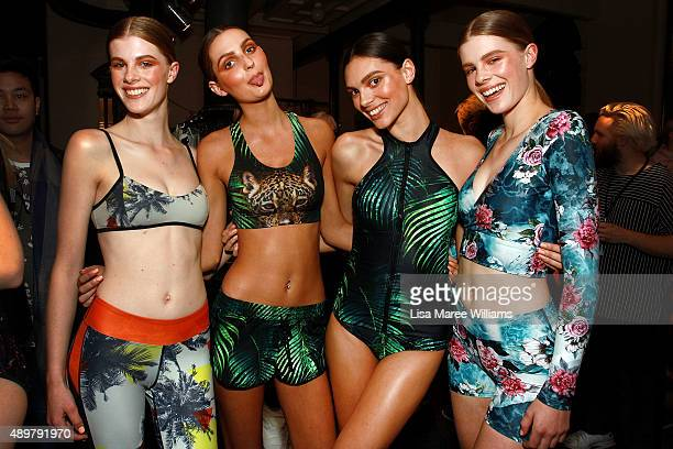 Models pose backstage ahead of the Ready To Wear show during MercedesBenz Fashion Festival Sydney 2015 at Sydney Town Hall on September 24 2015 in...