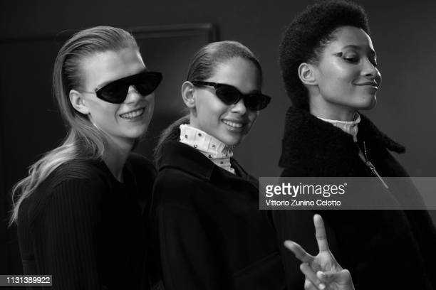 Models pose backstage ahead of the Sportmax show at Milan Fashion Week Autumn/Winter 2019/20 on February 22, 2019 in Milan, Italy.