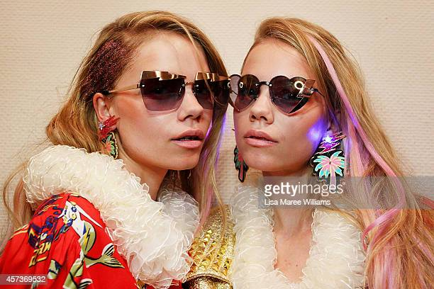 Models pose backstage ahead of the Sretsis show as part of Mercedes Benz Fashion Week TOKYO 2015 S/S at Spiral Garden on October 17 2014 in Tokyo...