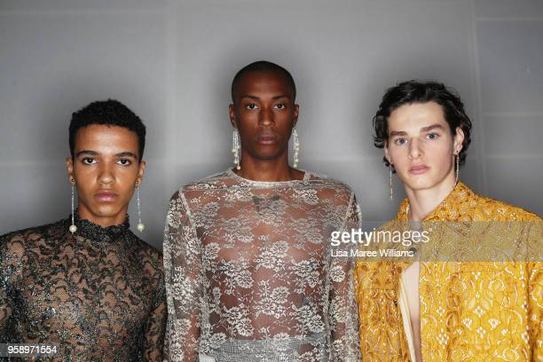 Models pose backstage ahead of the StGeorge NextGen show at MercedesBenz Fashion Week Resort 19 Collections at Carriageworks on May 16 2018 in Sydney...