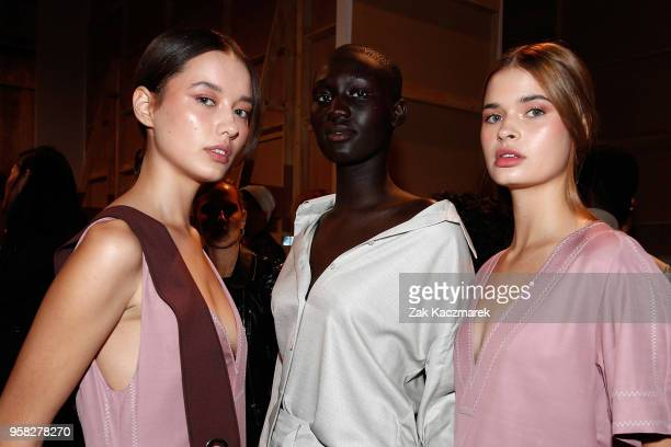Models pose backstage ahead of the Thomas Puttick show at MercedesBenz Fashion Week Resort 19 Collections at Carriageworks on May 14 2018 in Sydney...