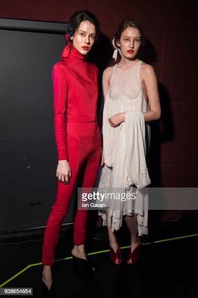 Models pose backstage ahead of the Urun show during MercedesBenz Istanbul Fashion Week at the Zorlu Performance Hall on March 27 2018 in Istanbul...