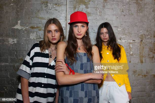 Models pose backstage ahead of the Vale Denim show at MercedesBenz Fashion Week Resort 18 Collections at Carriageworks on May 17 2017 in Sydney...