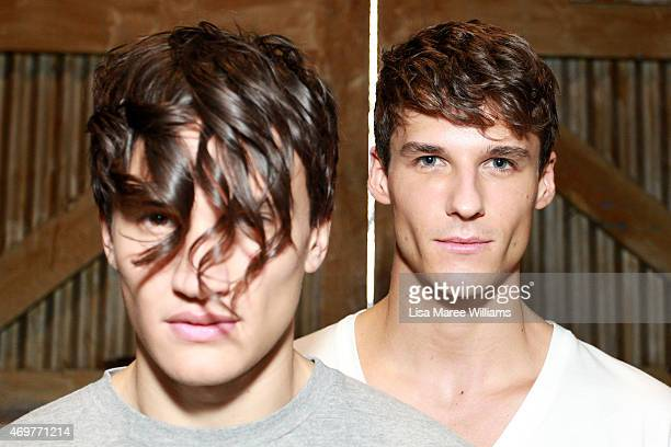 Models pose backstage ahead of the Wang Yutao show at MercedesBenz Fashion Week Australia 2015 at Carriageworks on April 15 2015 in Sydney Australia