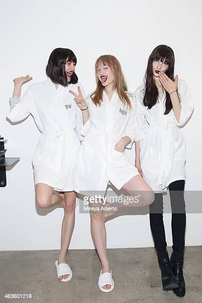 Models pose backstage at Houghton runway show during MADE Fashion Week Fall 2015 at Milk Studios on February 16 2015 in New York City