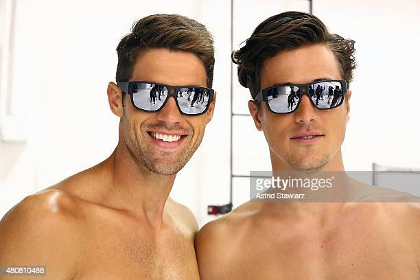 Models pose backstage at Nautica - Presentation - New York Fashion Week: Men's S/S 2016 at Skylight Clarkson Sq on July 15, 2015 in New York City.