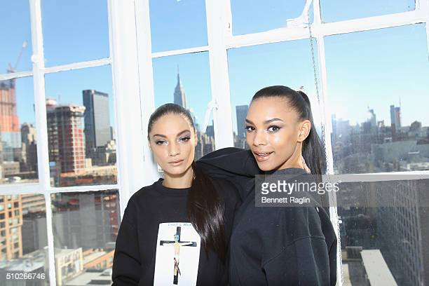 Models pose backstage at SheaMoisture at Laquan Smith F/W 2016 NYFW at Jack Studios on February 14 2016 in New York City