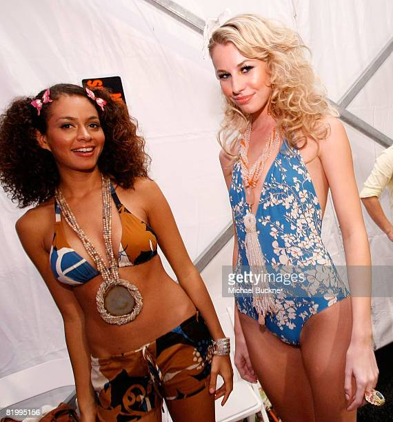 Models pose backstage at Syla by Sylvie Cachay 2009 collection fashion show during MercedesBenz Fashion Week Swim at the Raleigh Hotel on July 18...