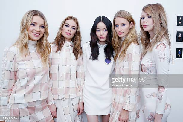 Models pose backstage at the Anna K fashion show during Fall 2016 MADE Fashion Week at Milk Studios on February 15 2016 in New York City