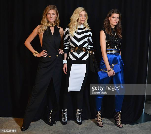 Models pose backstage at the BALMAIN X HM Collection Launch at 23 Wall Street on October 20 2015 in New York City
