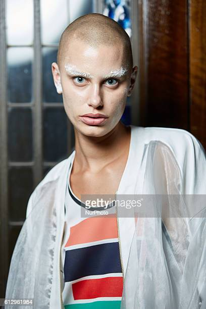 Models pose backstage at the Cimone Spring/Summer 17 show during London Fashion Week 2016, In London, United Kingdom.