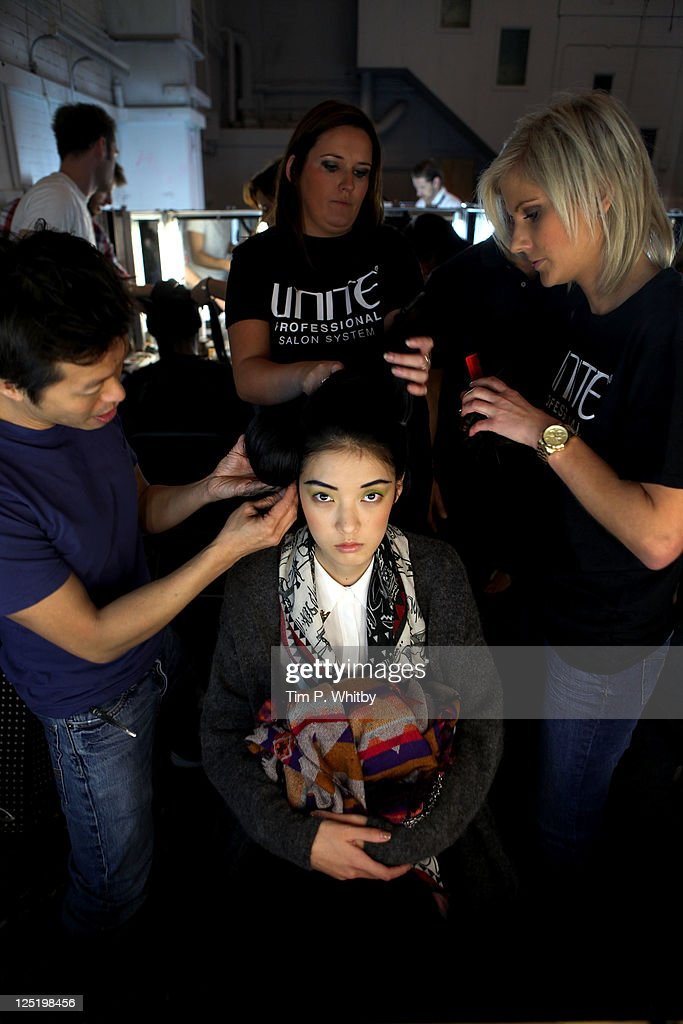 Models pose backstage at the Corrie Nielsen show at London Fashion Week Spring/Summer 2012 at The Old Sorting Office on September 16, 2011 in London, United Kingdom.