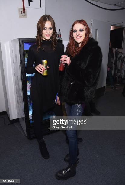 Models pose backstage at the Cushnie Et Ochs fashion show during February 2017 New York Fashion Week at Gallery 1 Skylight Clarkson Sq on February 10...