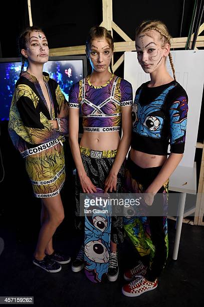 Models pose backstage at the DB Berdan show during Mercedes Benz Fashion Week Istanbul SS15 at Antrepo 3 on October 13 2014 in Istanbul Turkey