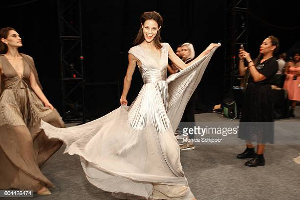 Models pose backstage at the Dennis Basso fashion show during New York Fashion Week The Shows at The Arc Skylight at Moynihan Station on September 13...