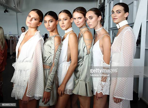 Models pose backstage at the Fashion Palette Australian Swim/Resort fashion show during New York Fashion Week September 2016 at Pier 59 Studios on...