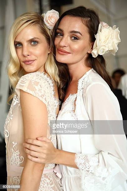 Models pose backstage at the Fashion Palette Australian Womenswear fashion show during New York Fashion Week September 2016 at Pier 59 Studios on...
