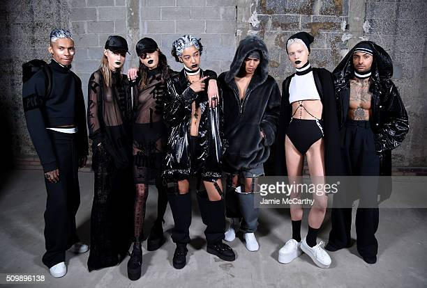 Models pose backstage at the FENTY PUMA by Rihanna AW16 Collection during Fall 2016 New York Fashion Week at 23 Wall Street on February 12 2016 in...