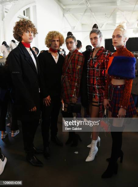 Models pose backstage at the Flying Solo Fashion Show during NYFW February 2019 at Pier 59 on February 9 2019 in New York City