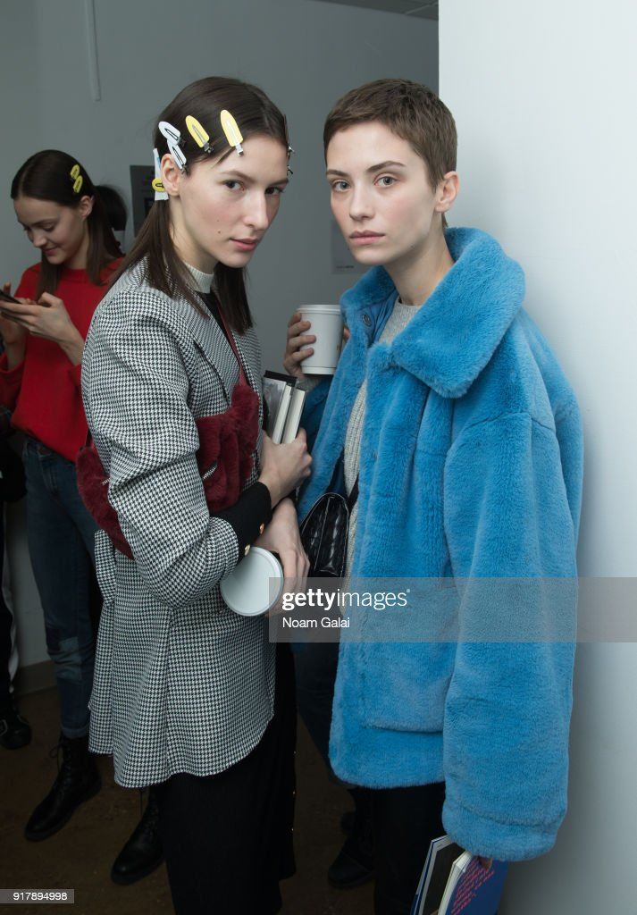 Models pose backstage at the Gabriela Hearst fashion show during New York Fashion Wee on February 13, 2018 in New York City.