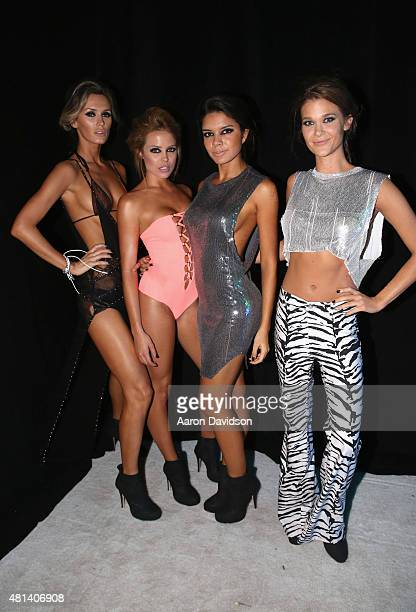 Models pose backstage at the Indah 2016 Collection during SWIMMIAMI at W South Beach WET on July 19 2015 in Miami Beach Florida