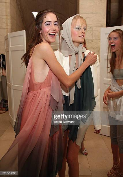 Models pose backstage at the Jill Stuart Spring 2009 fashion show during MercedesBenz Fashion Week at Astor Hall/NY Public Library on September 8...