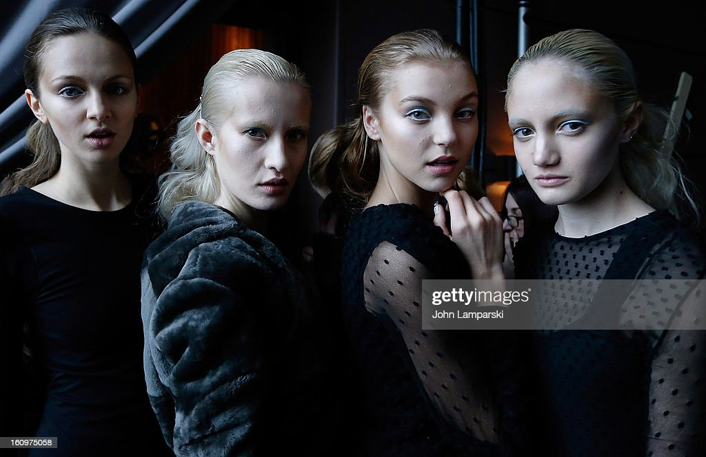 Models pose backstage at the Katie Gallagher Presentation during Fall 2013 Mercedes-Benz Fashion Week>> at The Standard Hotel on February 8, 2013 in New York City.
