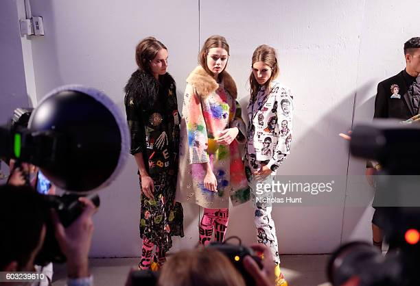 Models pose backstage at the Libertine fashion show during New York Fashion Week September 2016 at The Gallery Skylight at Clarkson Sq on September...