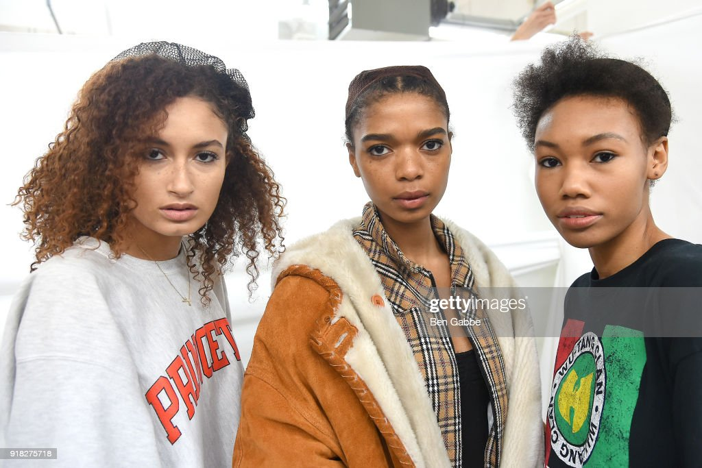 Models pose backstage at the Maki Oh fashion show during New York Fashion Week on February 14, 2018 in New York City.