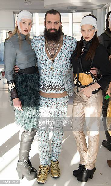 Models pose backstage at the Nina Athanasiou fashion show during Mercedes Benz Fashion Week Fall 2015 at The Designer's Loft on February 13 2015 in...