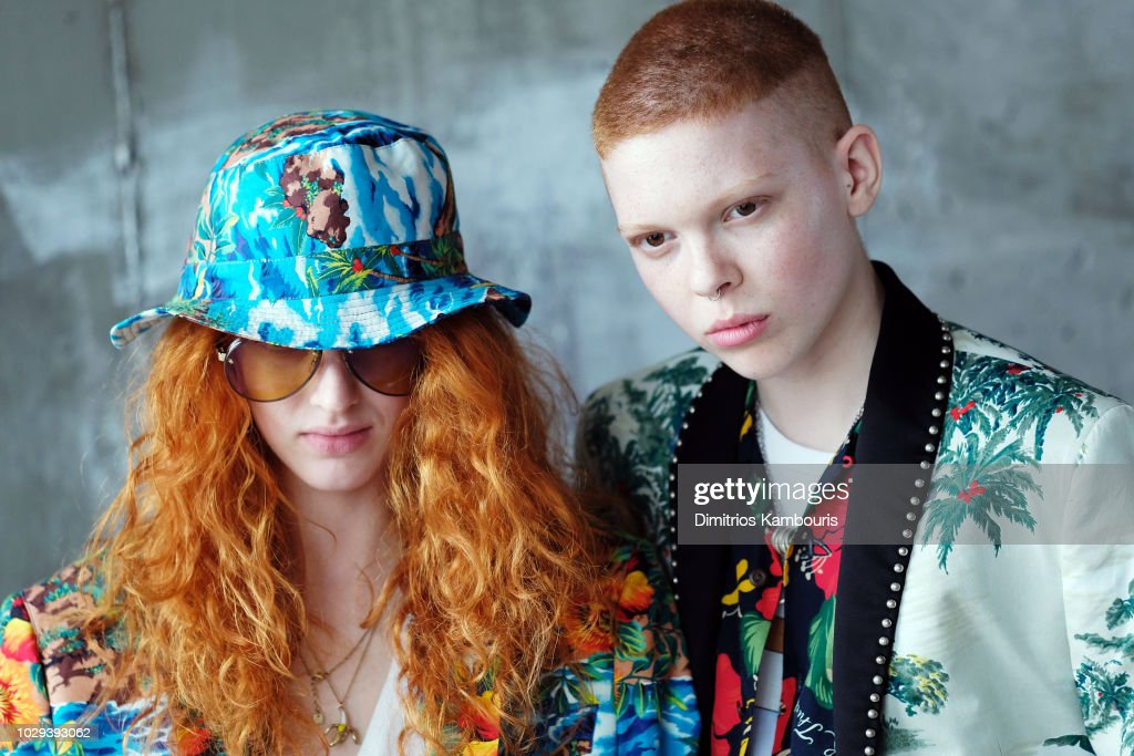 Models pose backstage at the R13 Show during New York Fashion Week on September 8, 2018 in New York City.