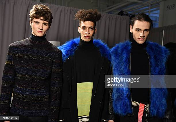Models pose backstage at the Ricardo Seco presentation during New York Fashion Week Men's Fall/Winter 2016 at Skylight at Clarkson Sq on February 3,...