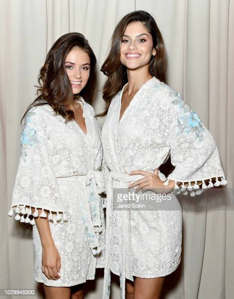 Models pose backstage at the Sherri Hill Spring 2019 NYFW Backstage at Gotham Hall on September 7 2018 in New York City
