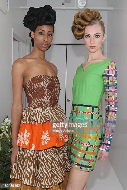 Models pose backstage at the St Wobil fashion show during MercedesBenz Fashion Week Spring 2014 at The Designer's Loft at Studio 450 on September 12...